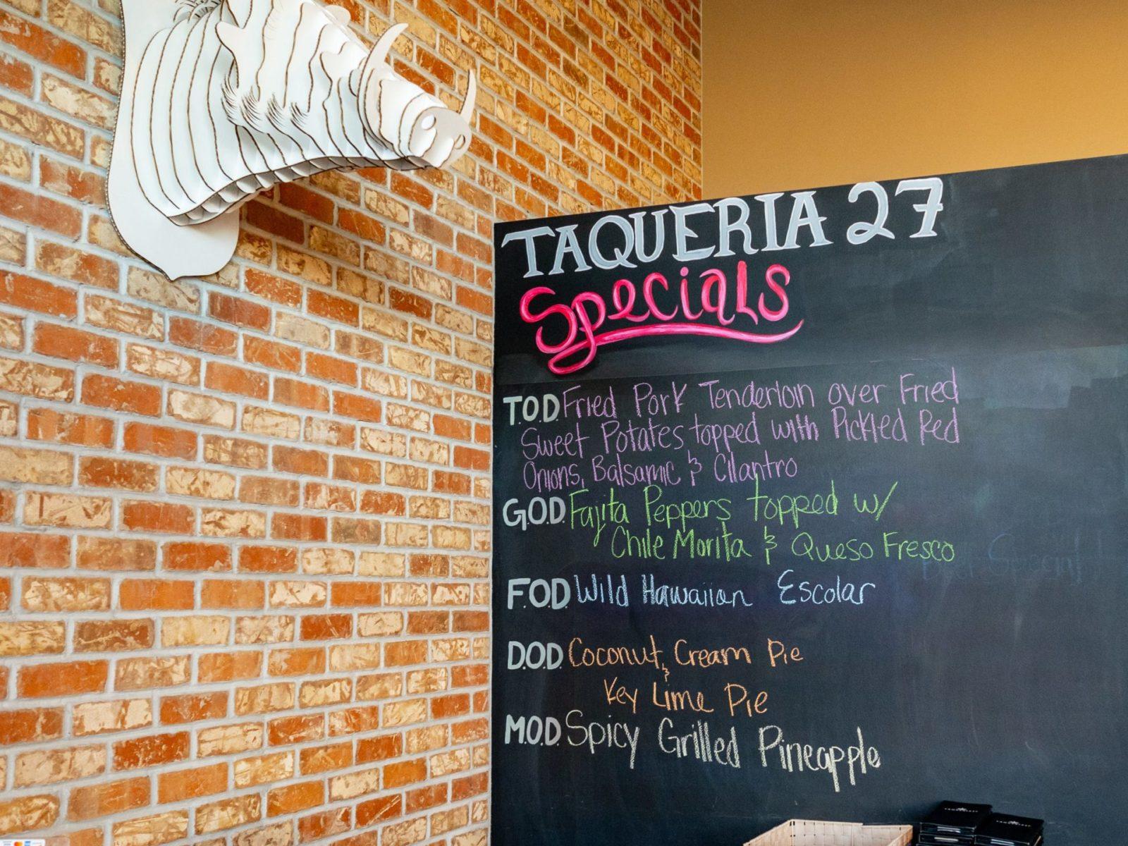 Specials menu at Taqueria 27